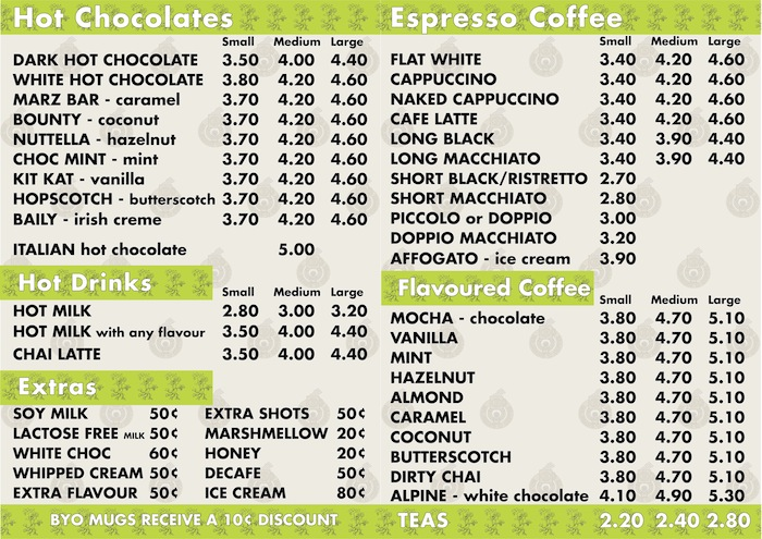 Main Coffee Menu 2013 updated size drinks